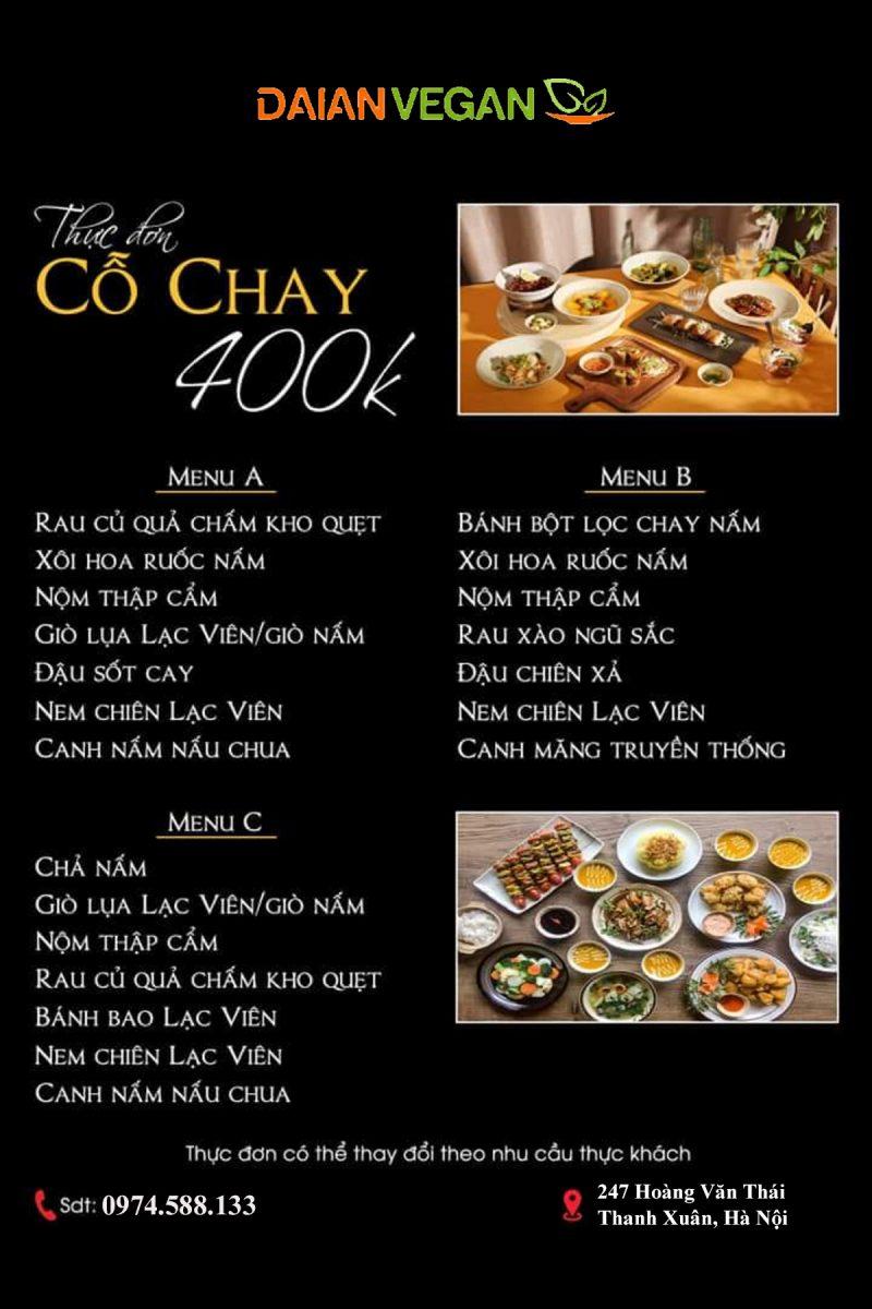 menu 400k
